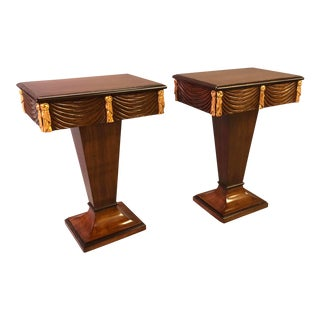 A Chic Pair of Grosfeld House 1940's Mahogany and Parcel-Gilt Single-Drawer Pedestal Tables For Sale