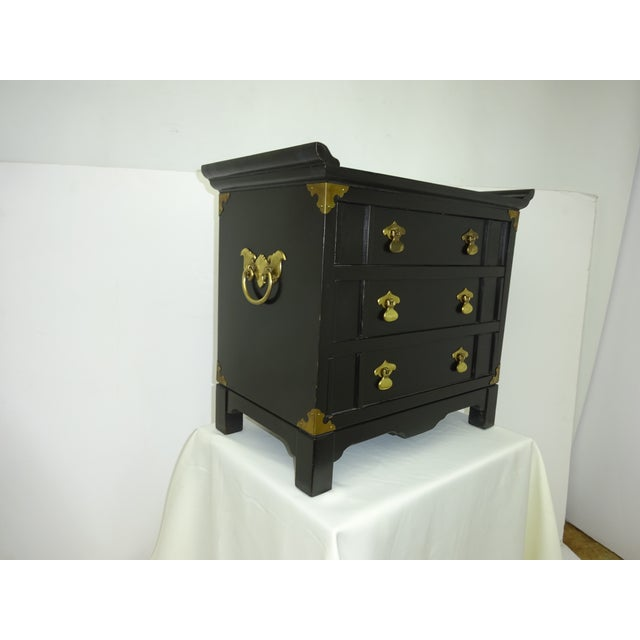 Black Lacquer Miniature 2 Drawer End Table C.1960 - Image 7 of 8