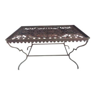 1960s Rustic Wrought Iron Table Center Table For Sale