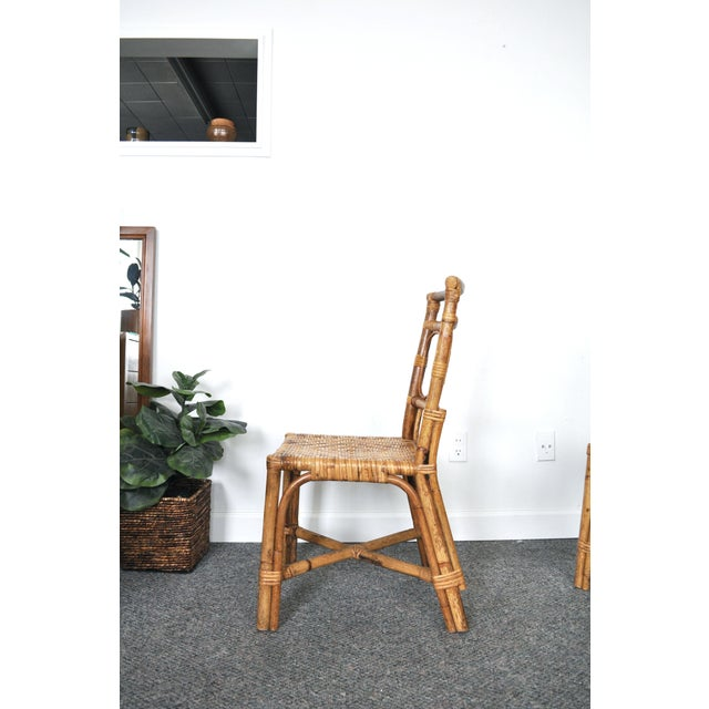 Bamboo Antique 1920's Bamboo & Rattan Chairs - A Pair For Sale - Image 7 of 10