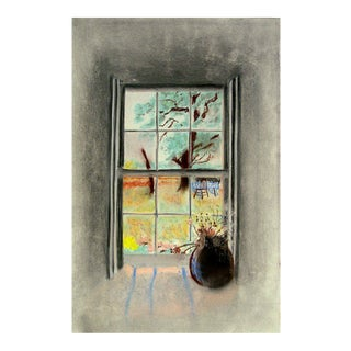 Sunny Garden Window View Pastel Drawing