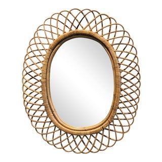 Mid-Century Franco Albini Rattan Mirror