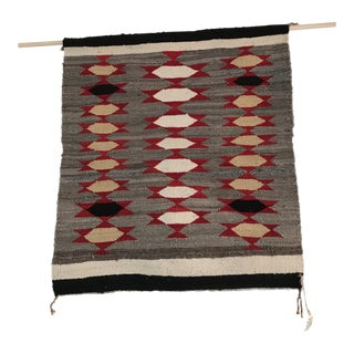 Hand Woven Navajo Indian Gray White Black Red and Tan Rug - 2′11″ × 3′ For Sale