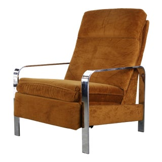 1970s Vintage Milo Baughman Suede and Chrome Lounge Chair For Sale