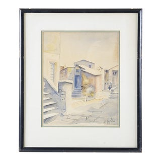 1950s Vintage Watercolor Painting For Sale