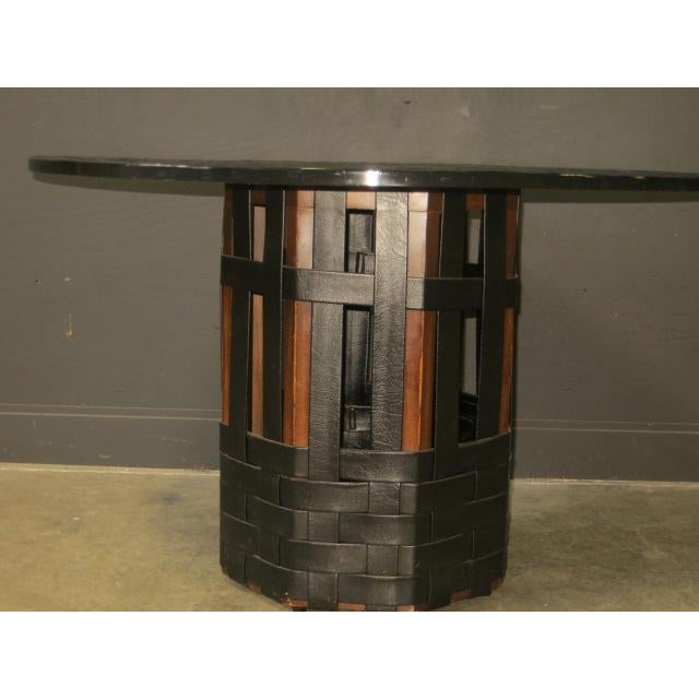 1960s Mid Century Modern Faux Slate Dining Table With Leather Banding For Sale - Image 5 of 13