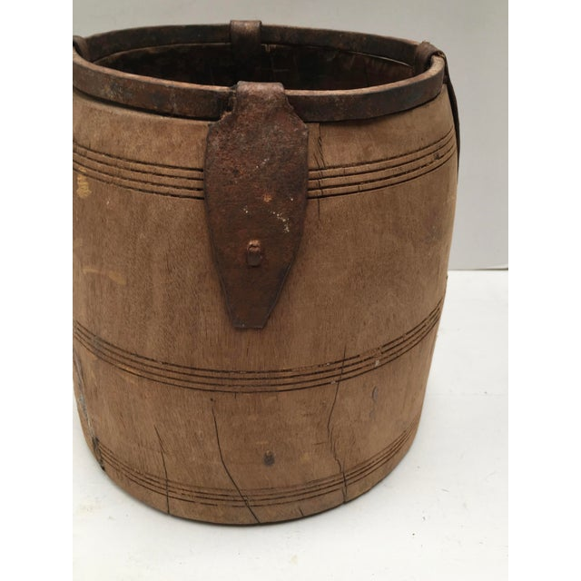 Antique Primitive Handmade Wood and Metal Grain Bucket For Sale In Dallas - Image 6 of 9