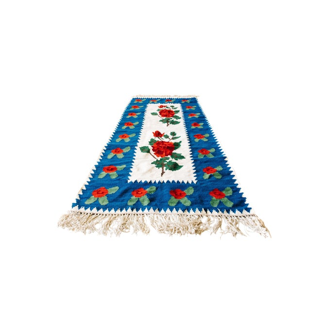 World of Roses - Vintage Hand-Woven Turkish Kilim - 3′4″ × 7′6″ - Image 1 of 7
