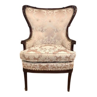 Chippendale Wood Carved Wingback Chair For Sale