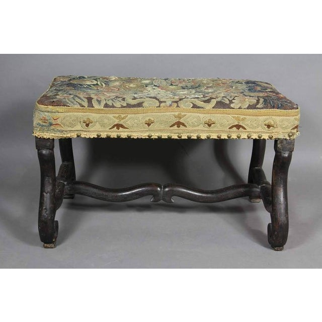 Yellow Louis XIV Walnut Os De Mouton Bench With Tapestry Seat For Sale - Image 8 of 8