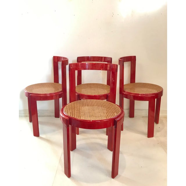 Magnificent set of Vintage Italian dining chairs in the manner of Scarpa. The bentwood and caned seated chairs are just...
