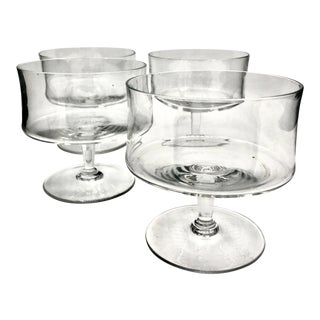 1960s Mid-Century Modern Convex Crystal Sherbet Bowls - Set of 4 For Sale