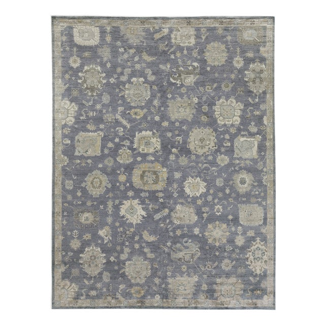 Blue Chester Hand knotted Bamboo/Silk Medium Blue Rug-8'x10' For Sale - Image 8 of 8