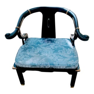 James Mont for Century Asian Black Horseshoe Chair