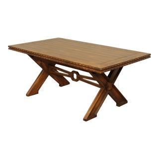 Romweber Viking Oak X Trestle Base Refectory Dining Table For Sale