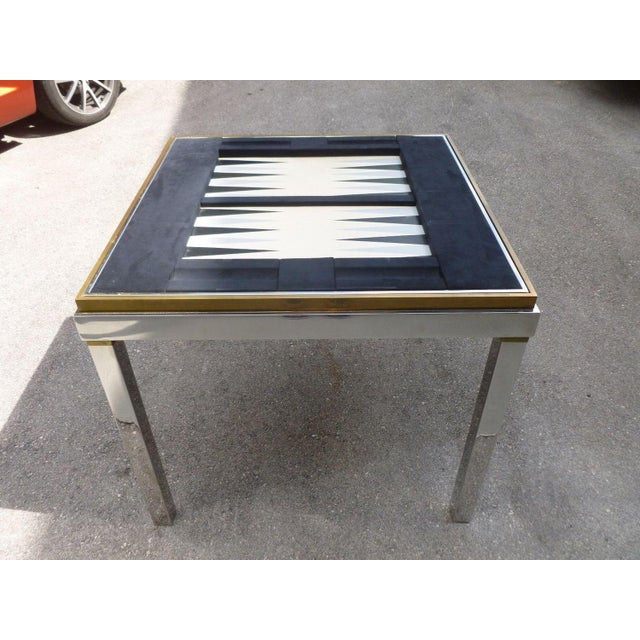 1970's Mid-Century Modern Willy Rizzo Chrome and Brass Gaming Table For Sale In Miami - Image 6 of 6