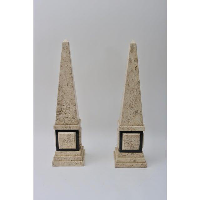 Empire Tan & Black Marble Obelisk For Sale - Image 3 of 11