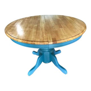 Shabby Chic Round Wood Top Blue Base Table For Sale