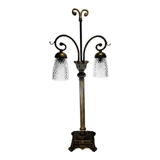 Tall Wrought Iron Table Buffet Lamp With Crystal Shades For Sale