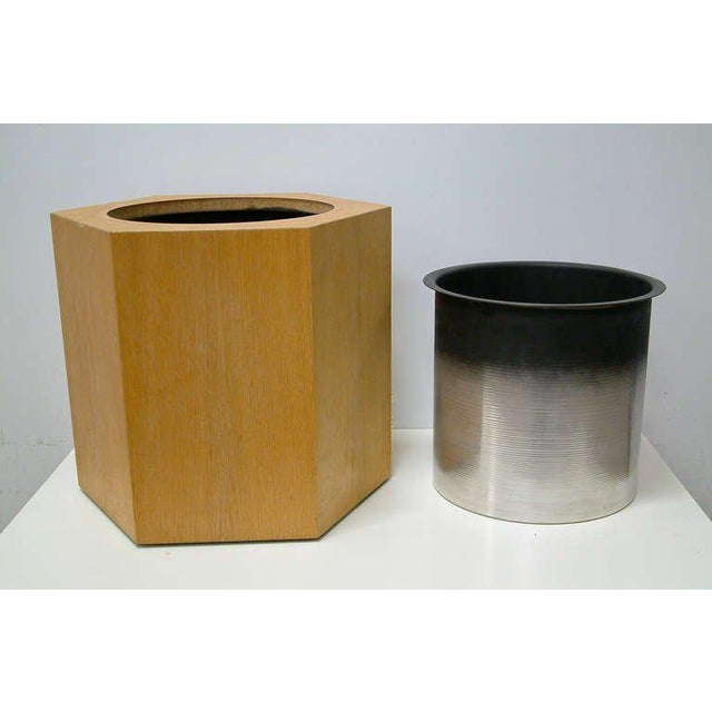 Circa 1970s Paul Mayen Hexagonal Oak and Aluminum Planter - Image 3 of 7