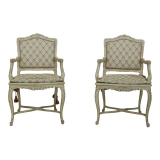 Pair Italian Paint Decorated Distressed Finish Armchairs For Sale