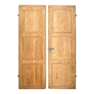 19th Century French Provincial Pine and Iron Doors-a Pair For Sale