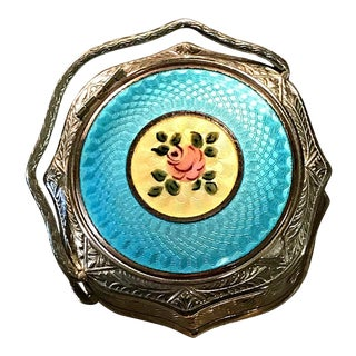 Antique Blue Turquoise Guilloche Floral Enamel Mirror Powder Compact With Handle For Sale