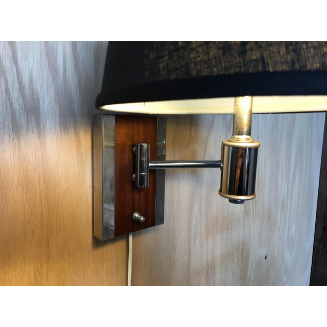 Brown Mid-Century Modern Walnut and Chrome Articulated Sconces - a Pair For Sale - Image 8 of 13