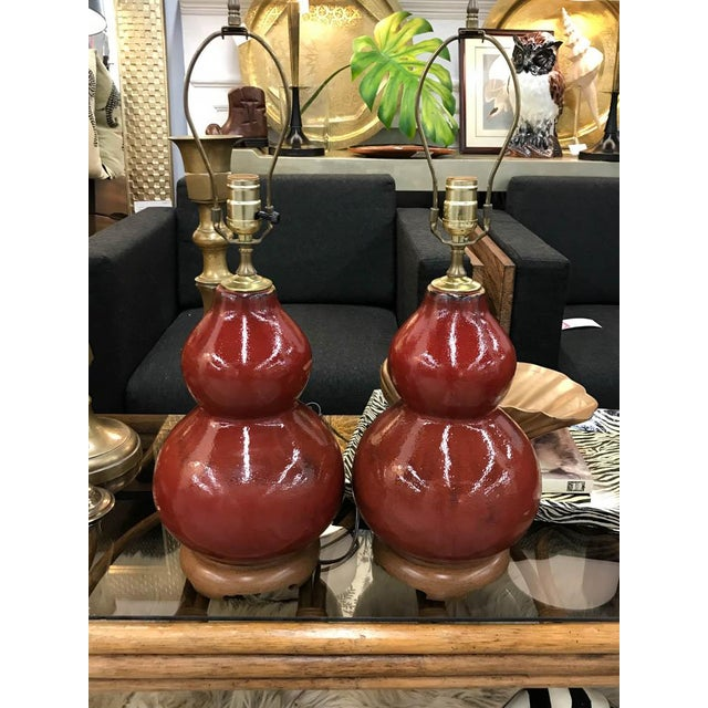 Mid-Century Pottery Gourd Lamps - A Pair - Image 4 of 8