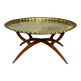 Vintage Hollywood Regency Spider Style Brass Folding Tray Coffee Table