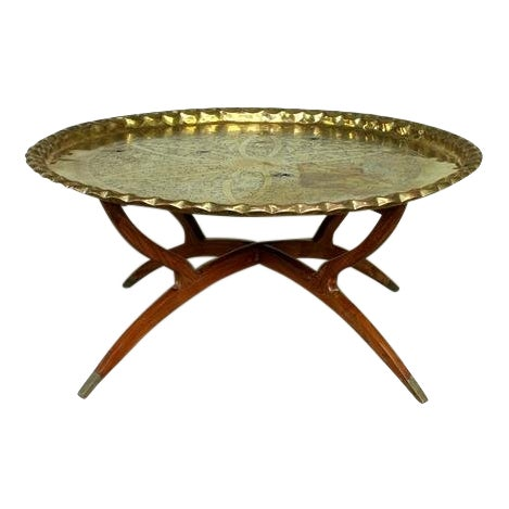 Vintage Hollywood Regency Spider Style Brass Folding Tray Coffee Table For Sale