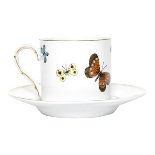 "Fitz & Floyd ""Butterfly Borealis"" Demitasse Cup & Saucer - a Pair For Sale"