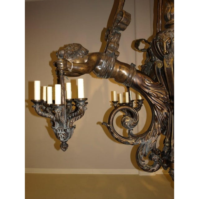 Antique Chandelier. Wood and bronze chandelier with cherubs For Sale - Image 4 of 8
