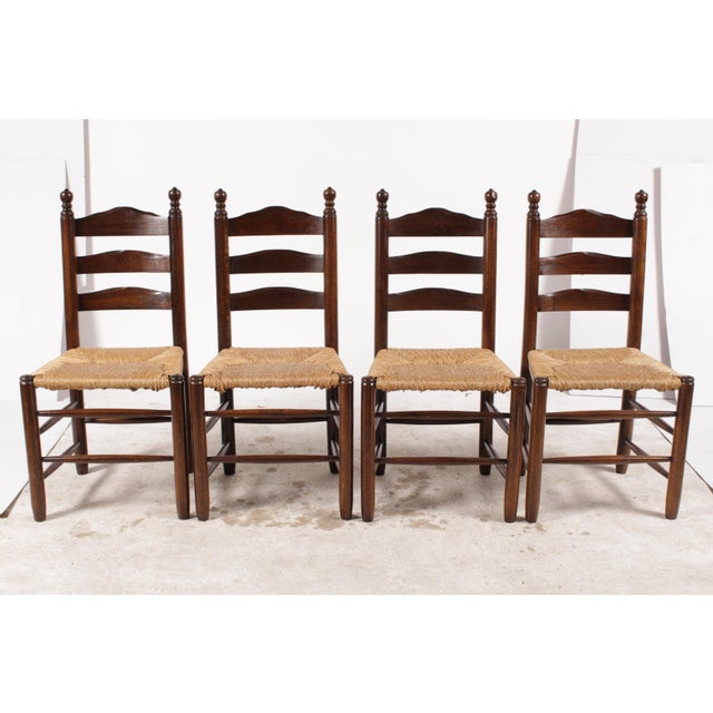 English Country Ladder Back Chairs - Set of 4 - Image 2 of 8