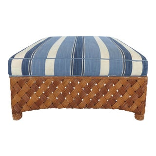 Overscale Woven Rattan Ottoman w/ Stripped Cushion