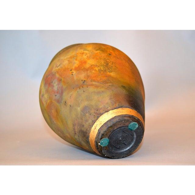 Signed Mid-Century Modern Brown, Blue & Gold American Raku Vase, Vessel, Urn For Sale - Image 10 of 13