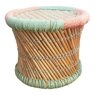 Vintage Pastel Woven Stool For Sale