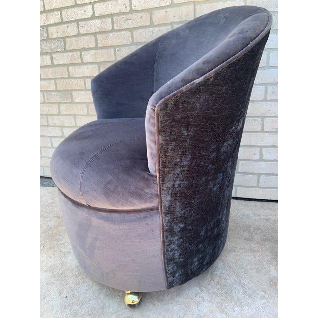 Gray Mid Century Modern Sculptural Directional Barrel Chairs on Casters Newly Uphostered - Pair For Sale - Image 8 of 12