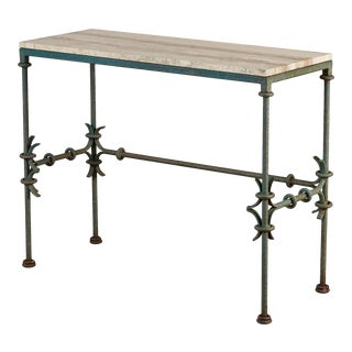 Giacometti Style Console Table With Travertine Top For Sale