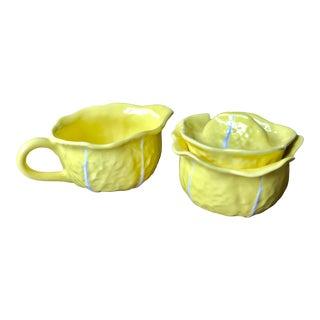 Vintage Ceramic Yellow Cabbage Leaf Creamer & Sugar Bowl Set - a Pair For Sale