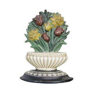 Unusual Flower Basket Cast Iron Door Stop. Tulips & Daffodils For Sale