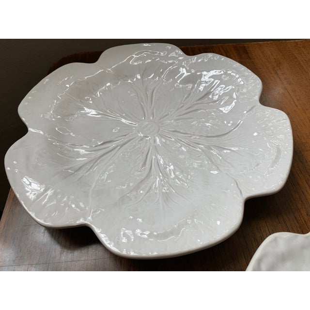 1980s 1980s Vintage Bordallo Pinheiro, White Majolica Cabbage Plates - Set of 3 For Sale - Image 5 of 11