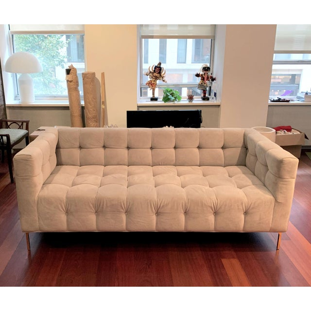 Tan ModShop Custom Made Tufted Sofa For Sale - Image 8 of 9