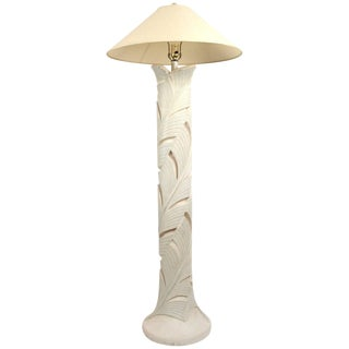 Plaster Floor Lamp in Foliate Motif For Sale