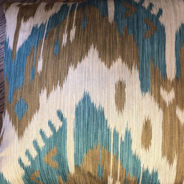 "2010s Kravet ""Abrbandi Turquoise"" 22"" Pillows-A Pair For Sale - Image 5 of 6"