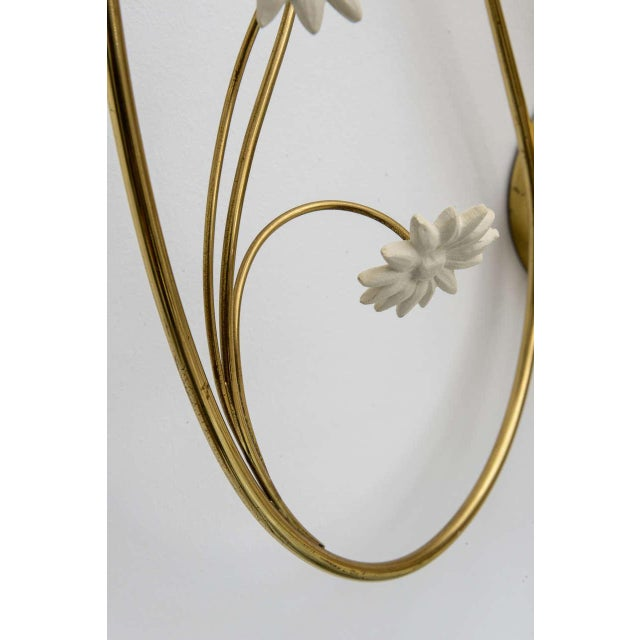 Metal Large Scale 1950's Italian Brass Candle Sconce For Sale - Image 7 of 11