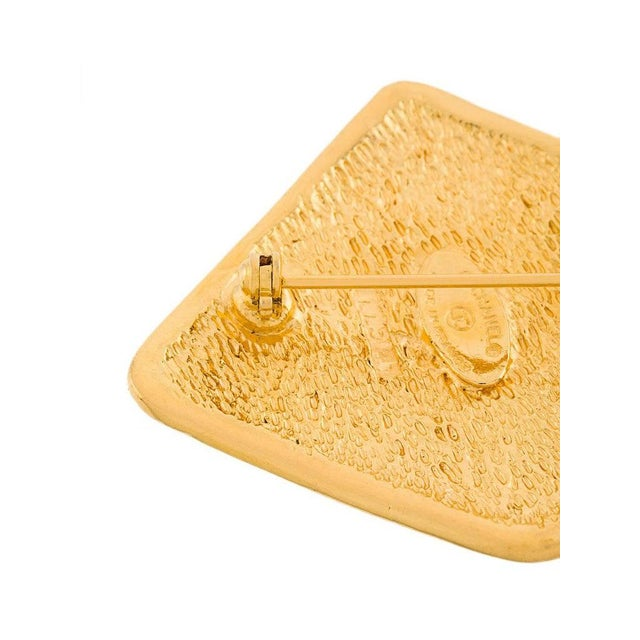 Modern Chanel Gold Diamond Charm Evening Statement Pin Brooch in Box For Sale - Image 3 of 5