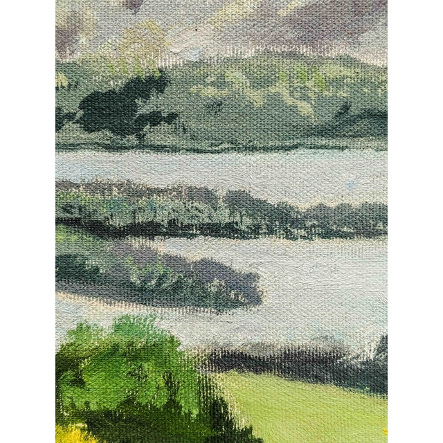 Picturesque Vintage Oil Landscape Painting of Mountains and Lake Scene, Signed by Artist C. Madahm For Sale - Image 4 of 5