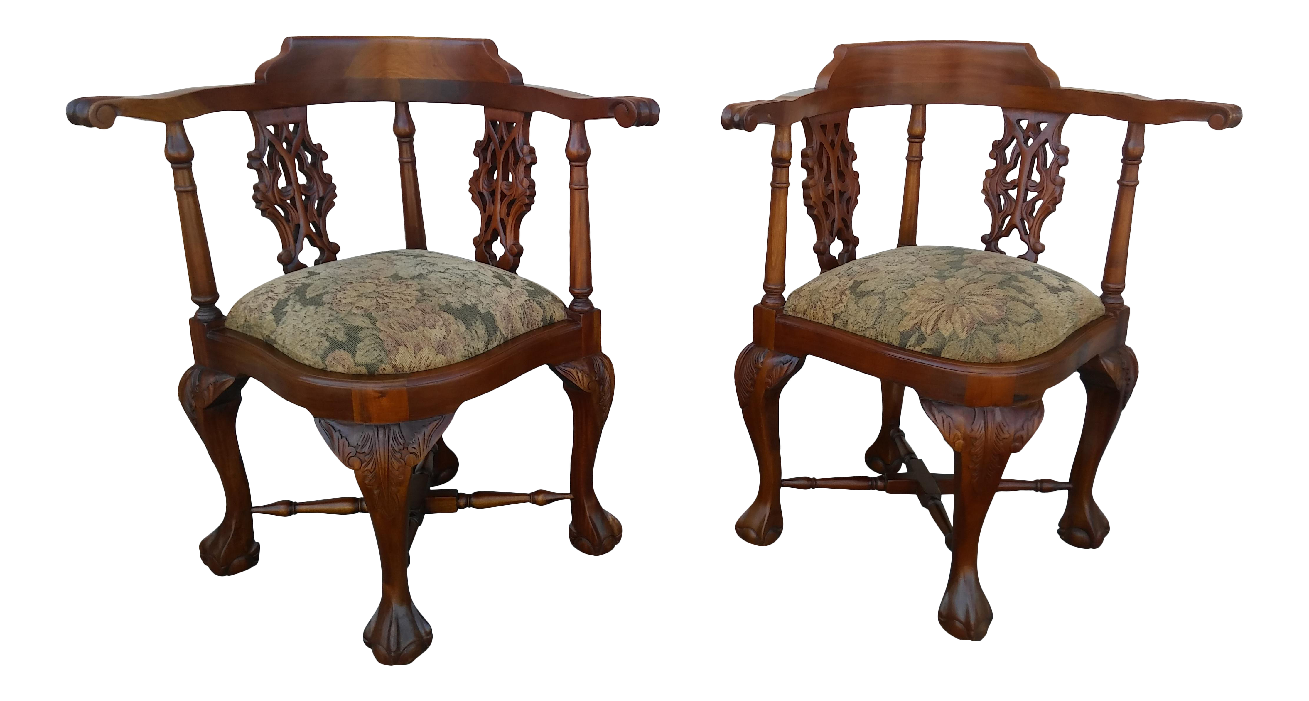 Beau Antique Mahogany Chippendale Ball And Claw Corner Chairs   A Pair