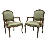 Image of Late 20th Century Ethan Allen French Louis XV Style Green Upholstered Arm Chairs- A Pair For Sale